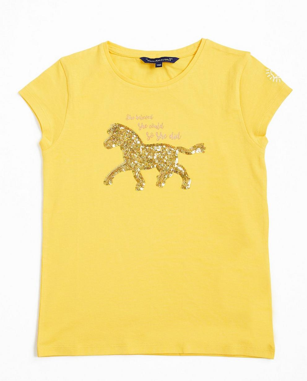 Gelbes T-Shirt mit Print - I AM - I AM